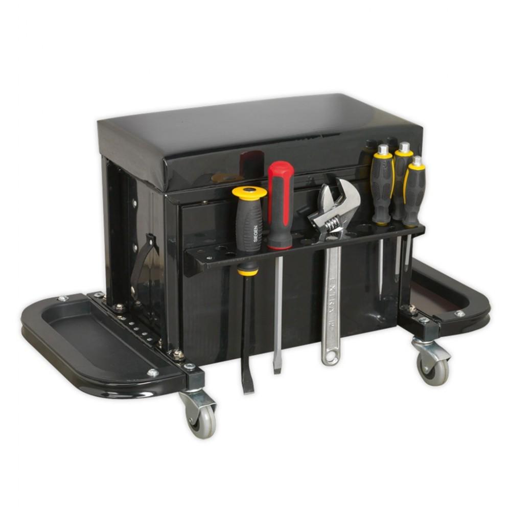 Scaun mobil pentru mecanici cu sertare si tavite laterale